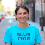 Photo of Greta wearing an Arcade Fire band t-shirt